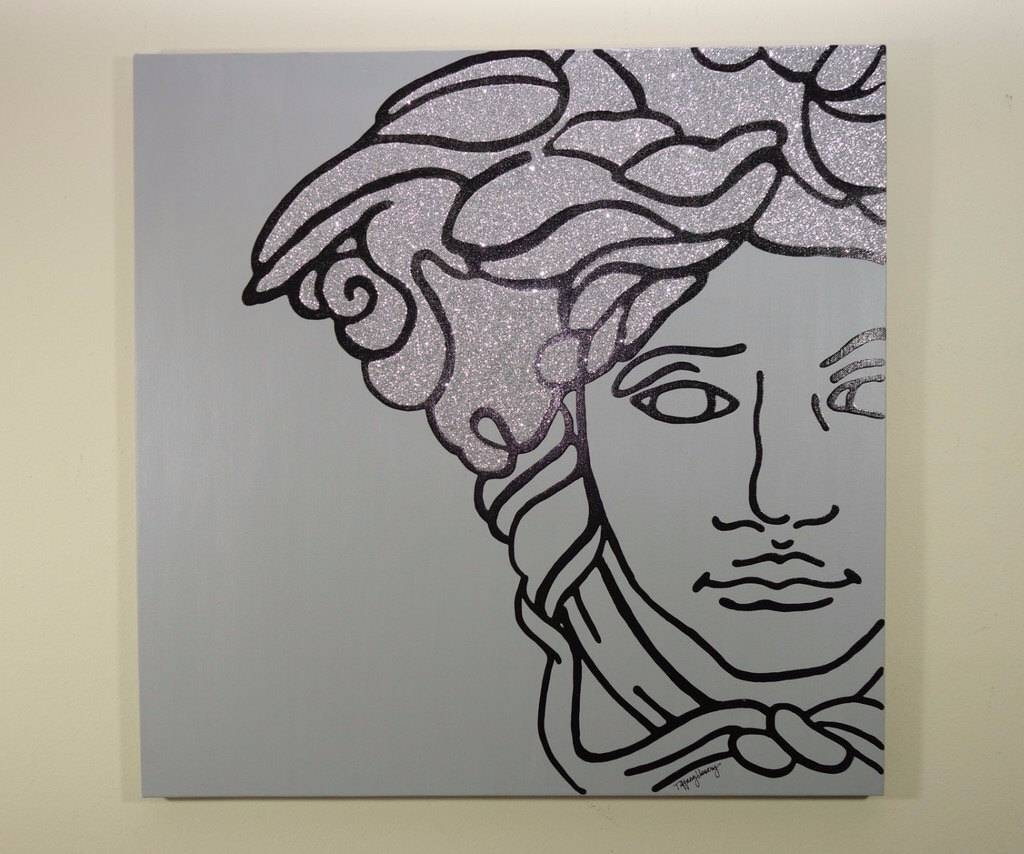 Versace Medusa Painting 24X24 Pop Art Black Silver Within 2017 Versace Wall Art (View 11 of 20)