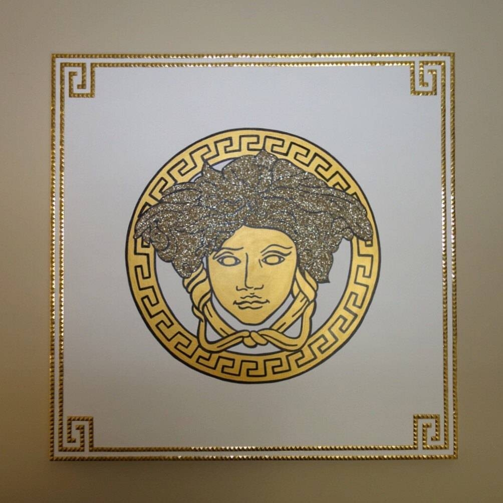 Versace Medusa Painting 36X36 Glitter & Studs Versace In Most Recent Versace Wall Art (Gallery 1 of 20)
