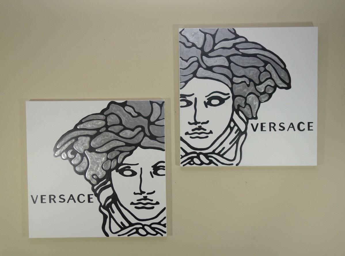 Versace Painting Set Of Two Each 20X20 Silver Painting Throughout 2018 Versace Wall Art (Gallery 13 of 20)
