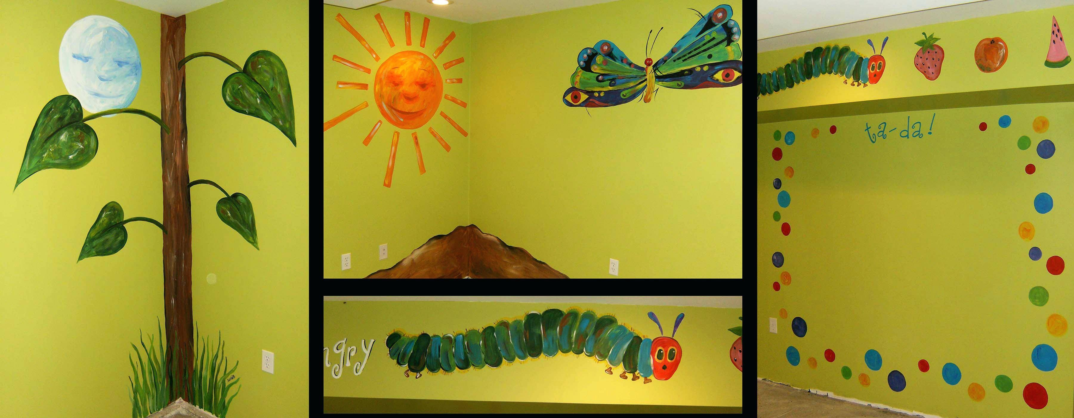 Very Hungry Caterpillar Wall Decals A Very Hungry Mural A Very for Latest Very Hungry Caterpillar Wall Art