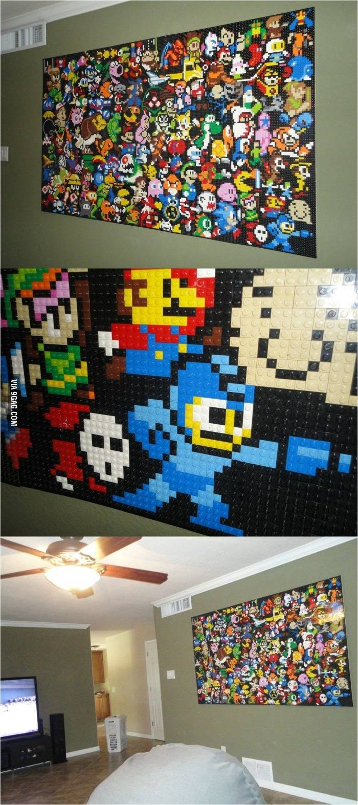 Video Game Classics On A Lego Wall! : Gaming Regarding Recent Video Game Wall Art (Gallery 21 of 30)