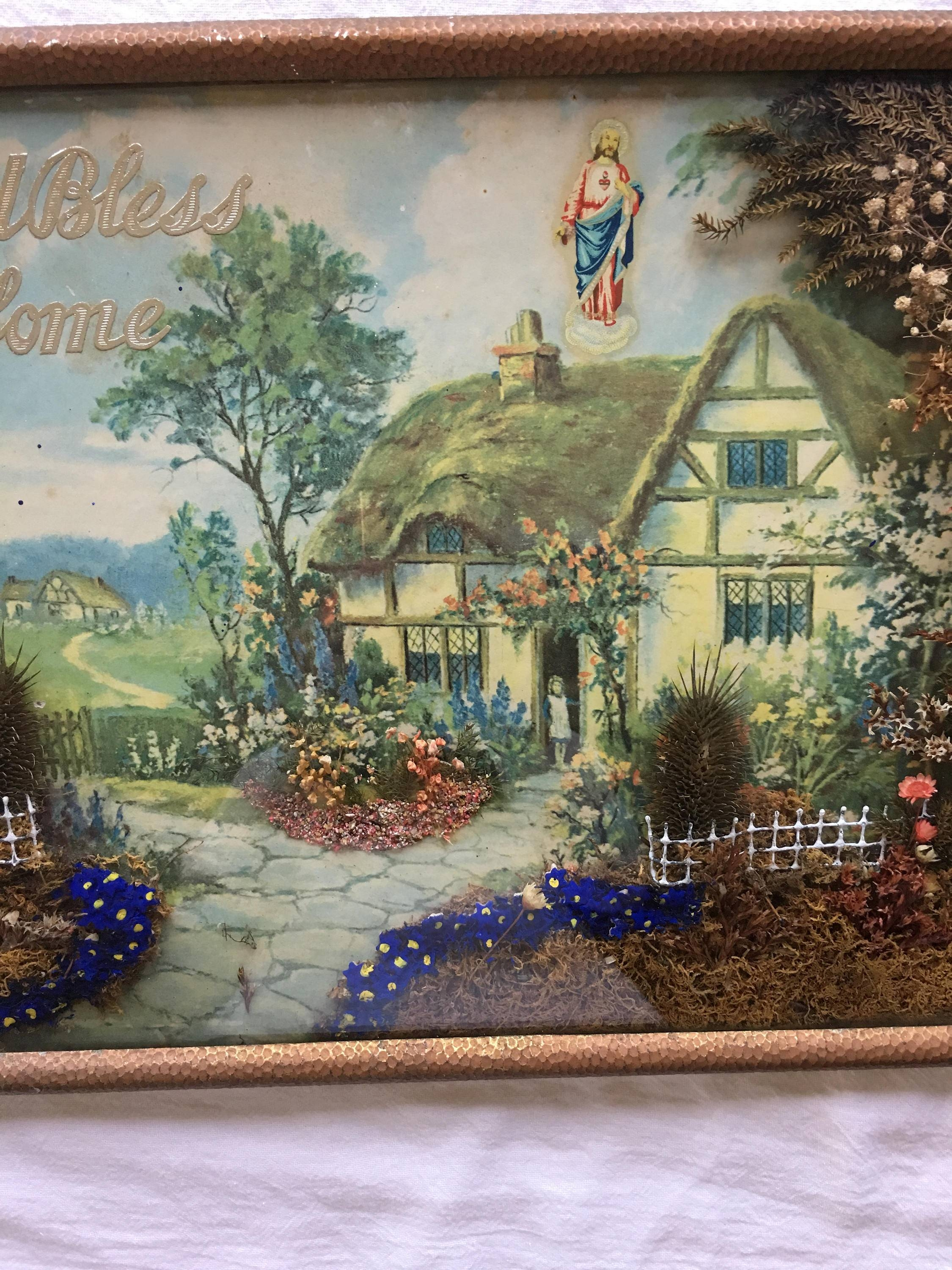 Vintage 3D Wall Art, God Bless Our Home, Dried Flowers, Cottage Inside Latest Vintage 3D Wall Art (Gallery 9 of 20)