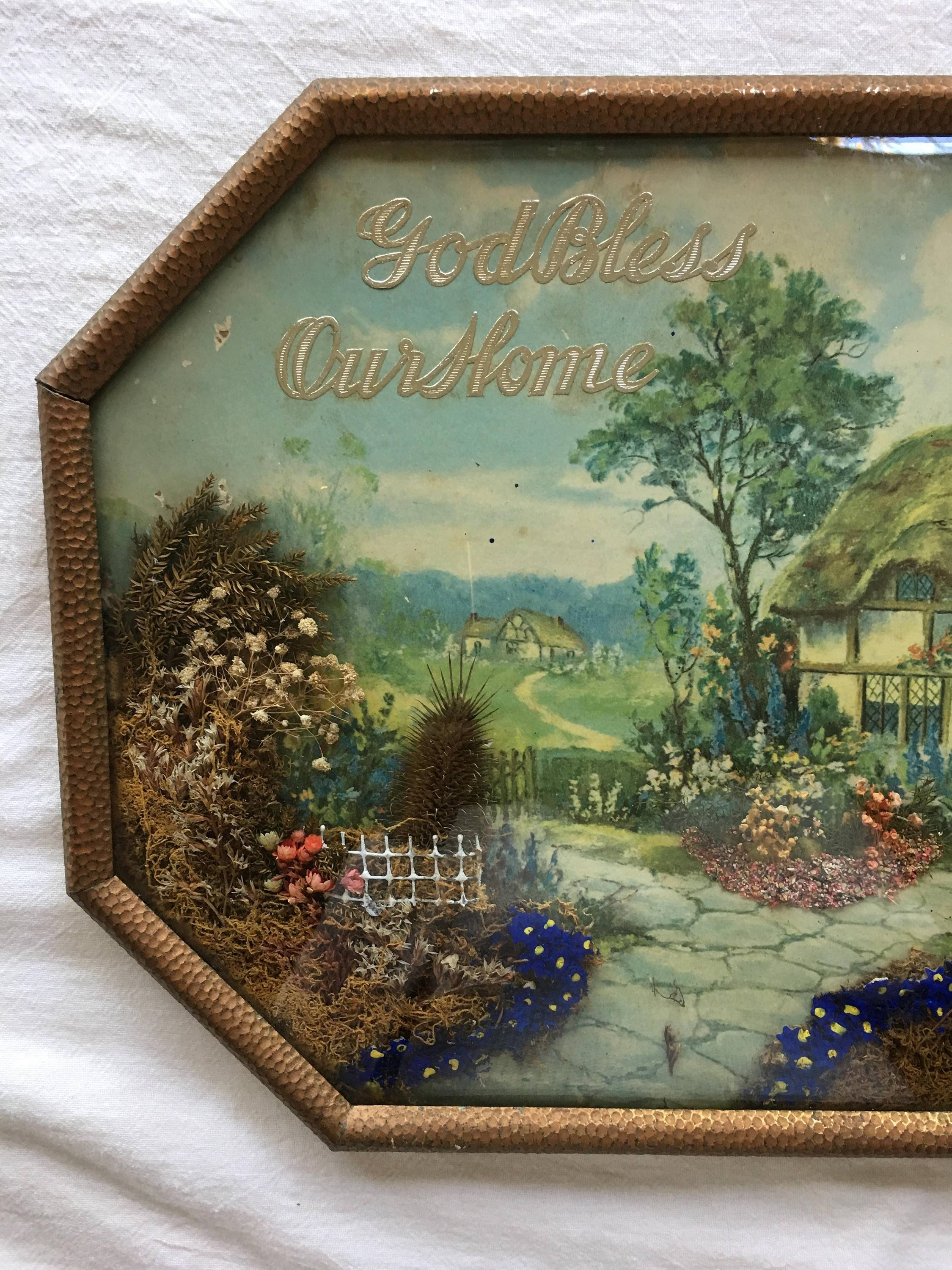 Vintage 3D Wall Art, God Bless Our Home, Dried Flowers, Cottage Regarding Most Up To Date Vintage 3D Wall Art (View 15 of 20)
