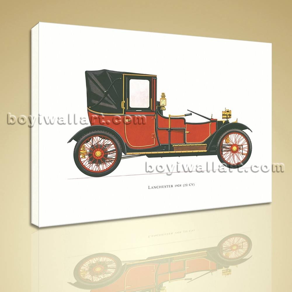 Vintage Car Lanchester 1908 Hd Picture Printed On Canvas Wall Art Inside Latest Classic Car Wall Art (Gallery 18 of 25)