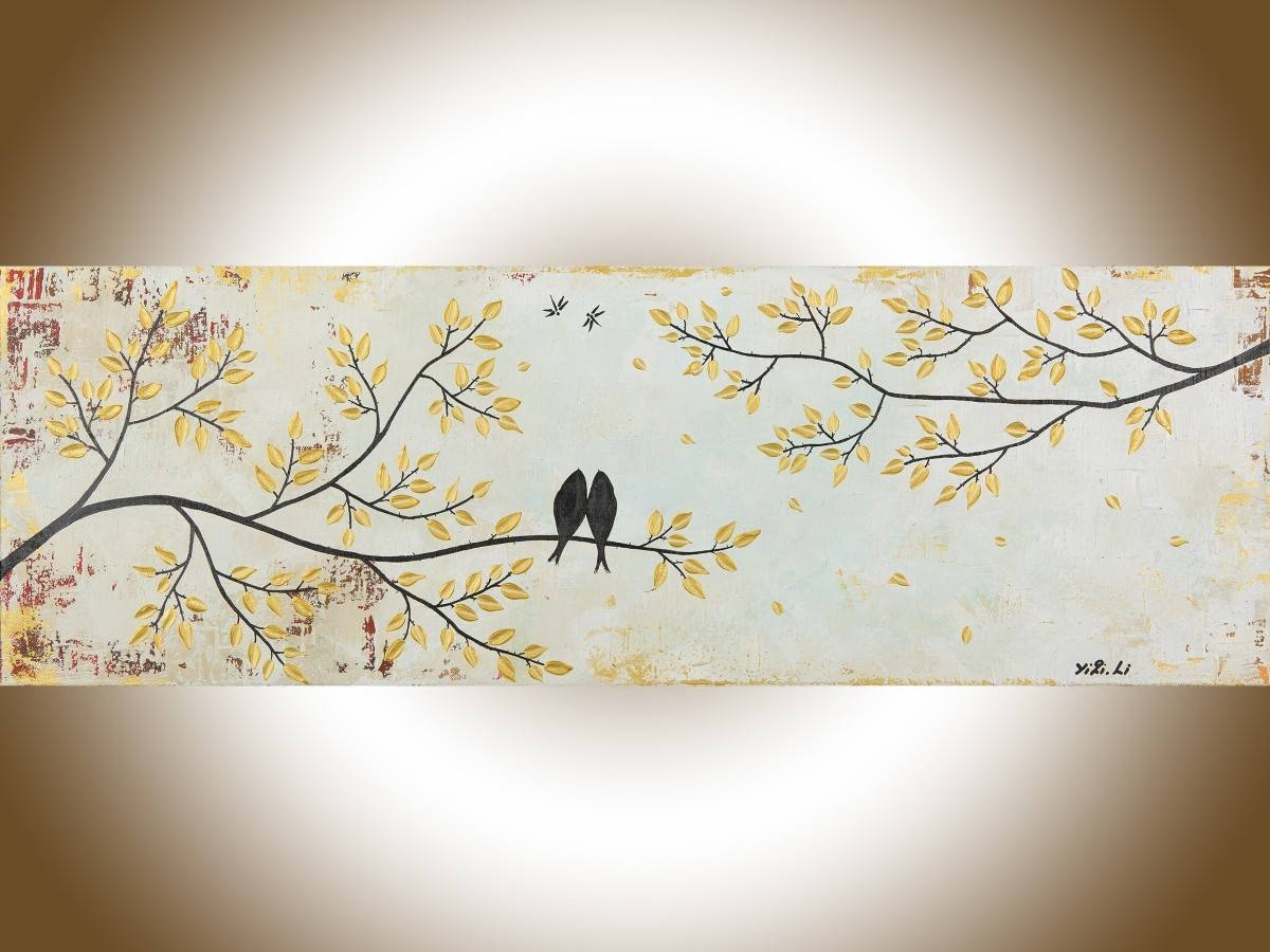 "Vintage Loveqiqigallery 36"" X 12"" Original Modern Abstract Regarding Most Recently Released Shabby Chic Canvas Wall Art (View 20 of 25)"