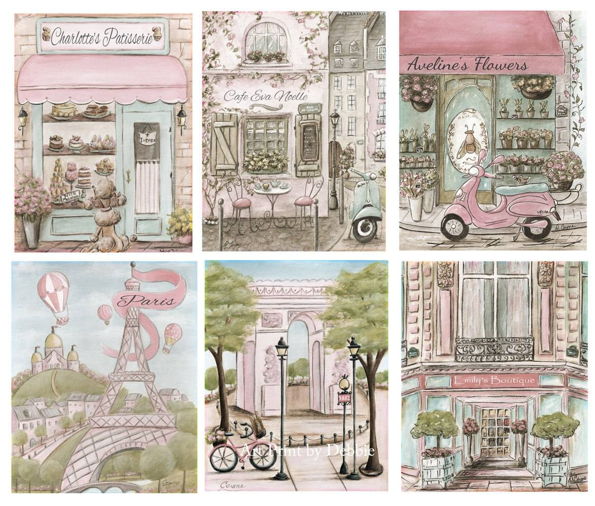 Vintage Paris Themed Nursery Wall Art Set Of 6 Personalized Throughout Most Popular Paris Theme Nursery Wall Art (View 29 of 30)