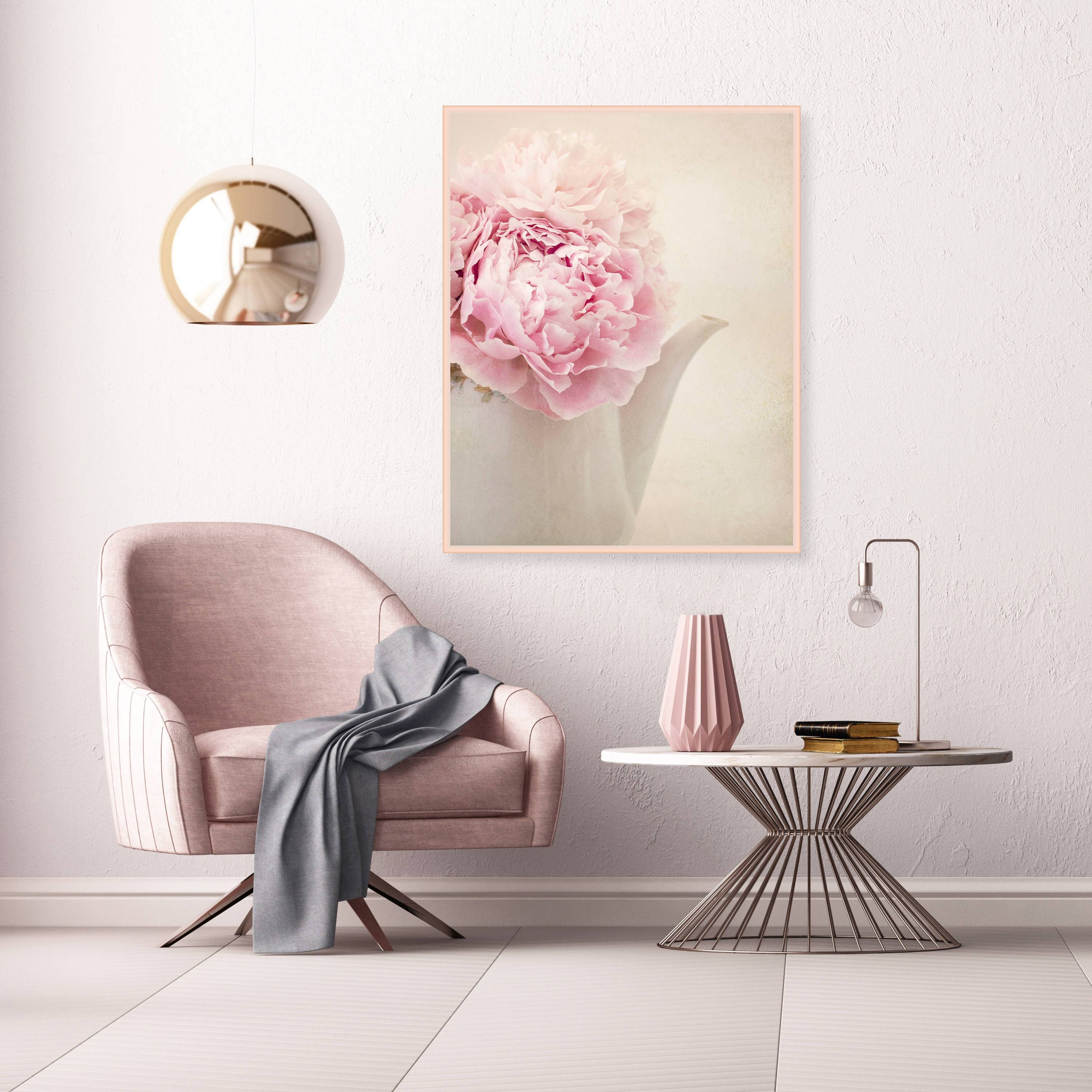 Vintage Peonies Print, Blush Pink Wall Art, Peonies Still Life in Best and Newest Large Vintage Wall Art