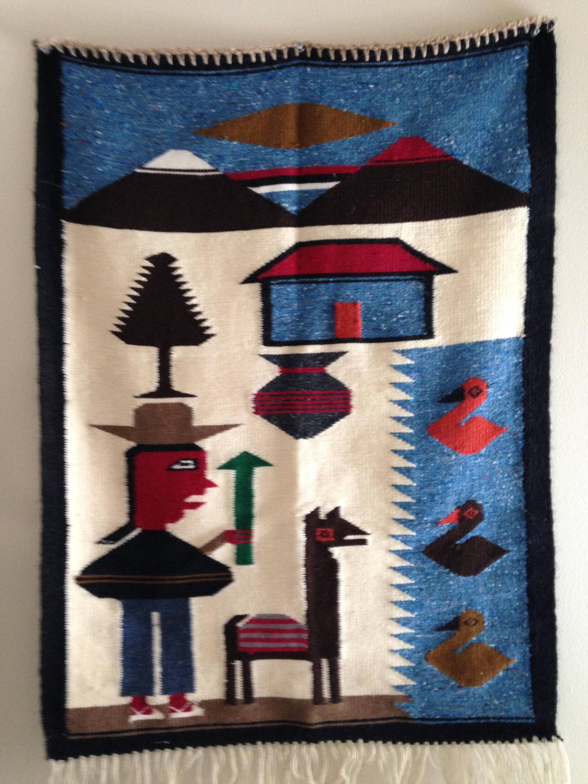 Vintage Peruvian Woven Colorful Wool Wall Hanging Rug Hand Throughout Recent Peruvian Wall Art (Gallery 4 of 30)