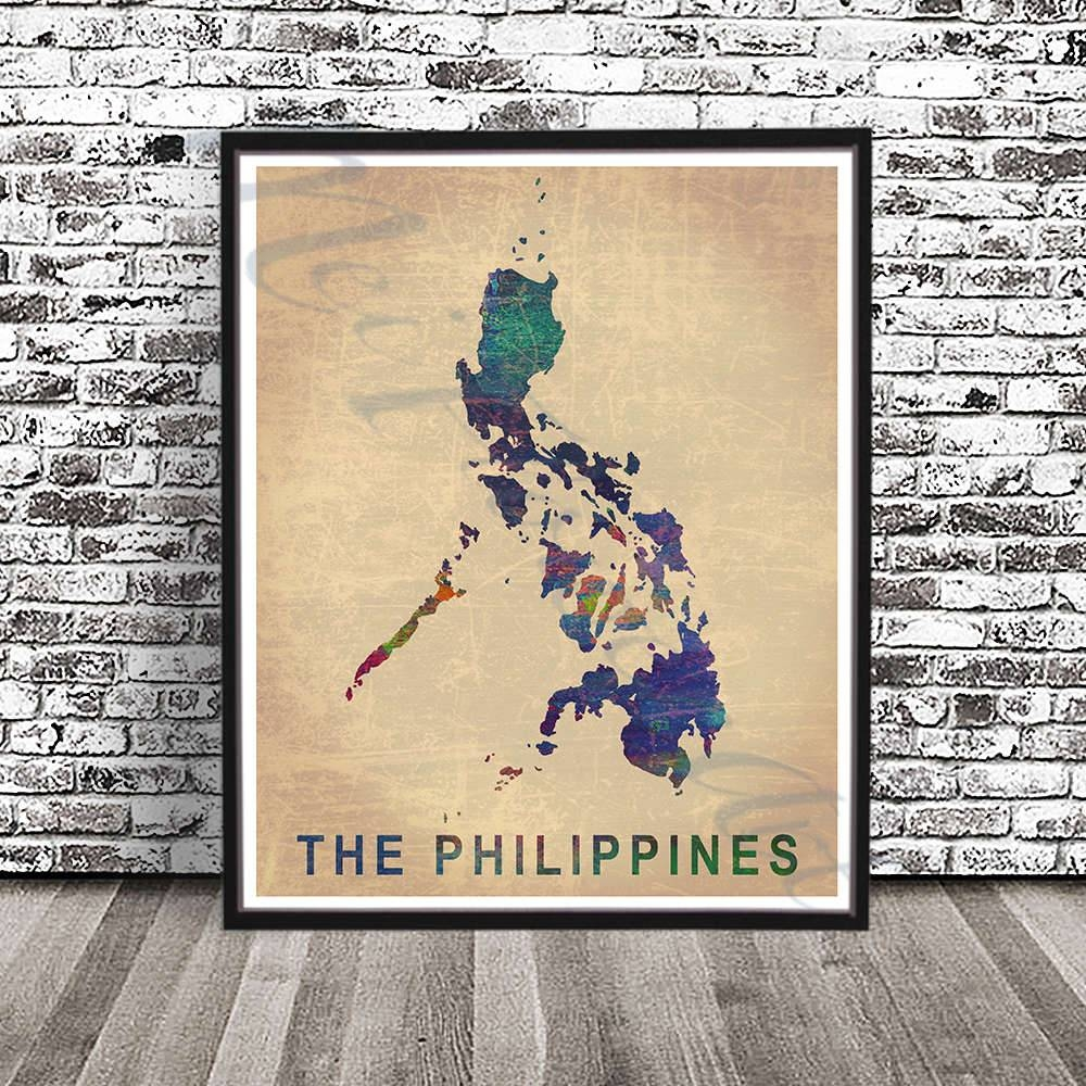 Vintage Philippines Map Print Watercolor Painting Filipino With Most Current Filipino Wall Art (Gallery 19 of 30)