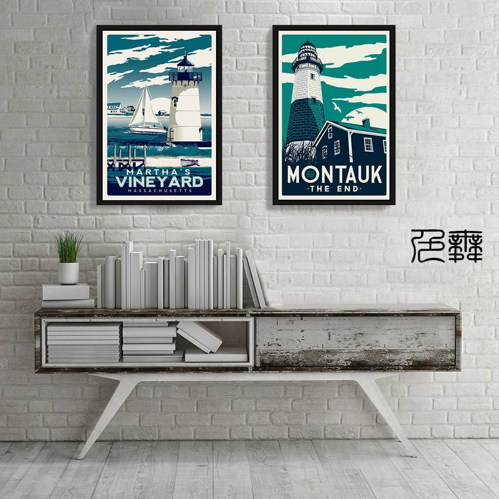 Vintage Poster Martha Vineyard Montauk Art Canvas Huge Print within Most Up-to-Date Vineyard Wall Art