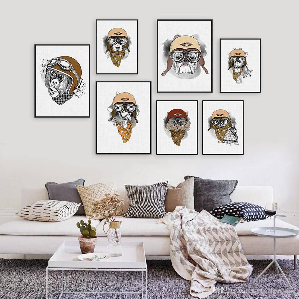 Vintage Retro Hippie Animal Head Giraffe Owl Helmet Art Print With Newest Owl Framed Wall Art (Gallery 13 of 20)