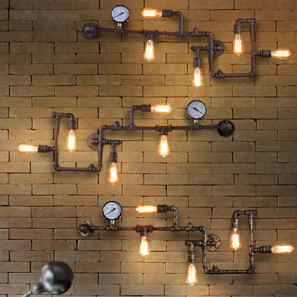 Vintage Steampunk Pipe Bar Wall Lamp Industrial Rustic Loft Wall Inside 2017 Vintage Industrial Wall Art (View 18 of 20)