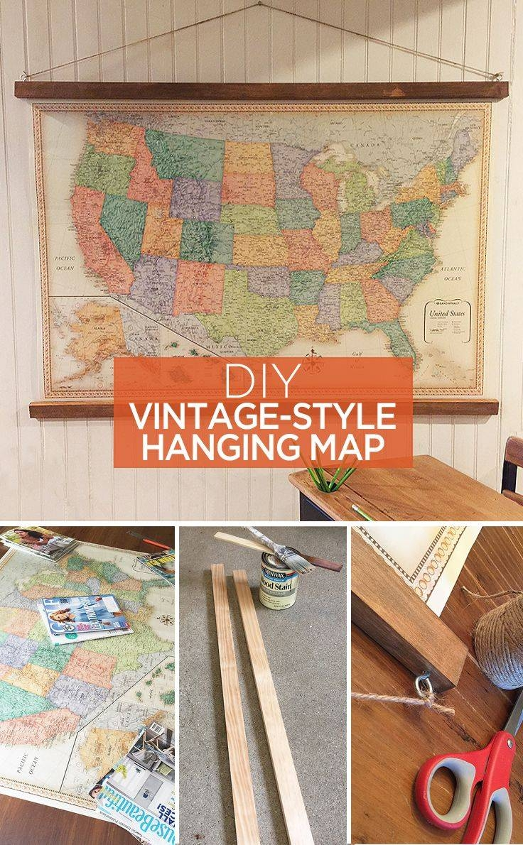 Vintage Style Hanging Map: An Easy Diy Decor Idea | Walls, Vintage Throughout Best And Newest Vintage Style Wall Art (View 15 of 20)
