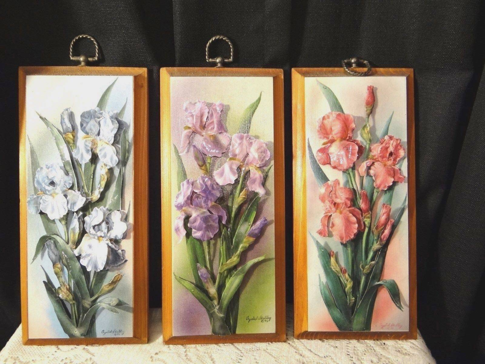 Vintage Wall Art Iris Flowers Decoupage On Wood Plaque 3d Pictures Regarding 2017 Decoupage Wall Art (View 13 of 30)