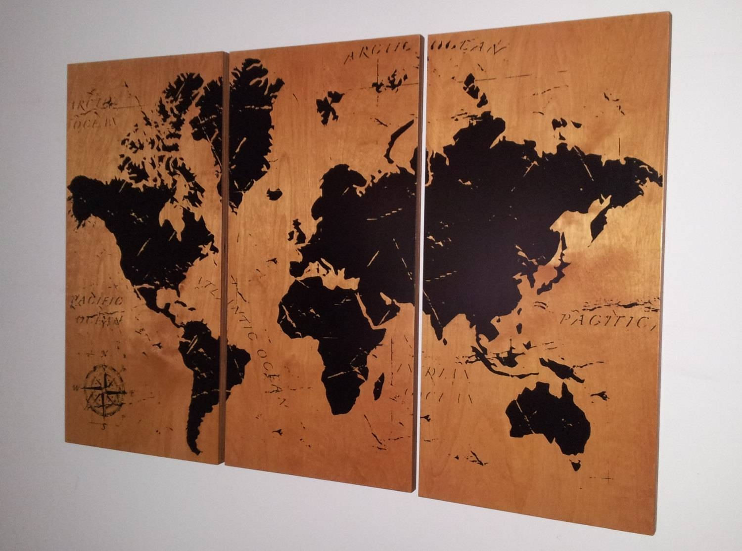 Vintage World Map Screen Print Wood Painting Wall Art On In Recent Old World Map Wall Art (Gallery 11 of 20)