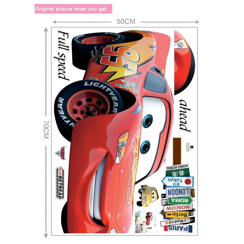 Vinyl Cartoon Lightning Mcqueen Wall Sticker Plane Wall Art With Regard To Most Recent Lightning Mcqueen Wall Art (Gallery 10 of 20)