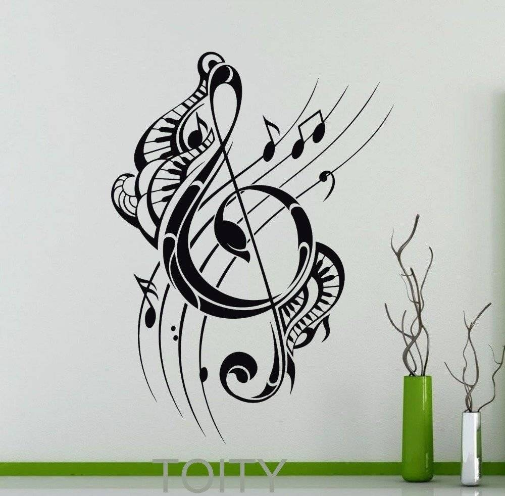 Vinyl Stickers Johannesburg Treble Clef Wall Decal Musical Notes Intended For Most Recent Twiggy Vinyl Wall Art (View 13 of 20)