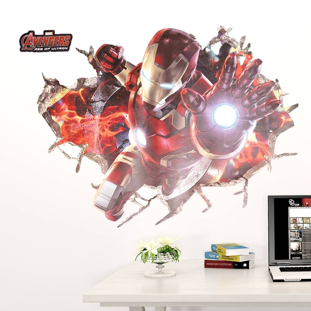 Vinyl Stickers Picture – More Detailed Picture About Wall Art Within Recent Iron Man 3d Wall Art (View 10 of 20)