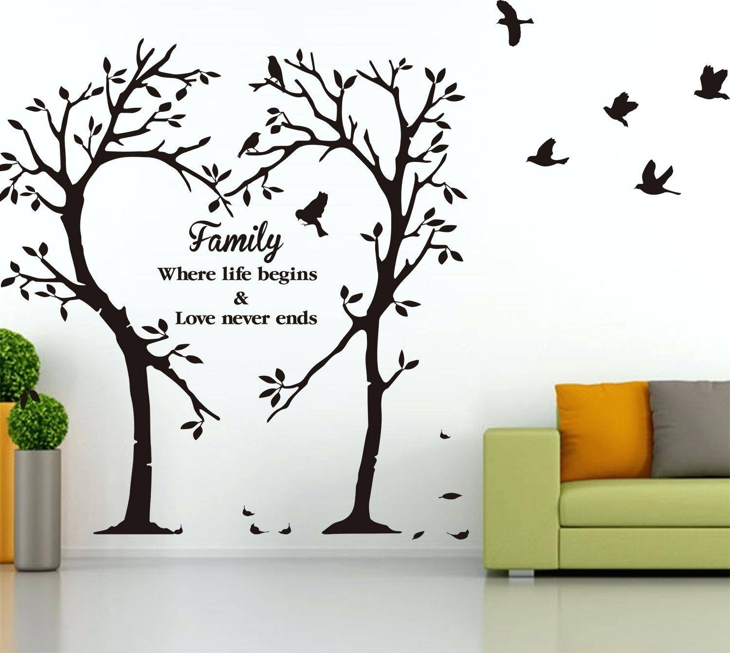 Vinyl Wall Decals Family Tree Wall Ideas Palm Tree Wall Art Decals Intended For 2017 Vinyl Wall Art Tree (Gallery 16 of 20)