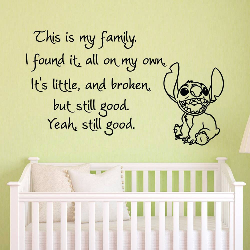 Vinyl Wall Decals Quotes Lilo And Stitch This Is My Family I Within 2017 Winnie The Pooh Vinyl Wall Art (Gallery 17 of 20)