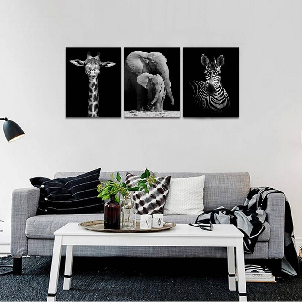 Visual Art Decor Animals Canvas Wall Art Elephant Zebra Giraffe Inside Most Recent Zebra Wall Art Canvas (Gallery 17 of 25)