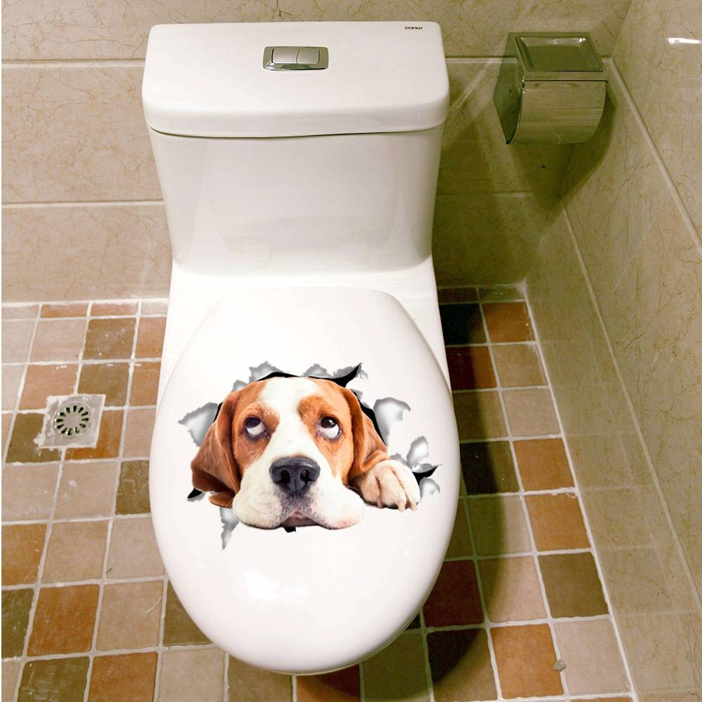 Vivid 3d Cats Dogs Toilet Sticker Art Poster Mural Wall Sticker Regarding Newest Dogs 3d Wall Art (View 11 of 20)