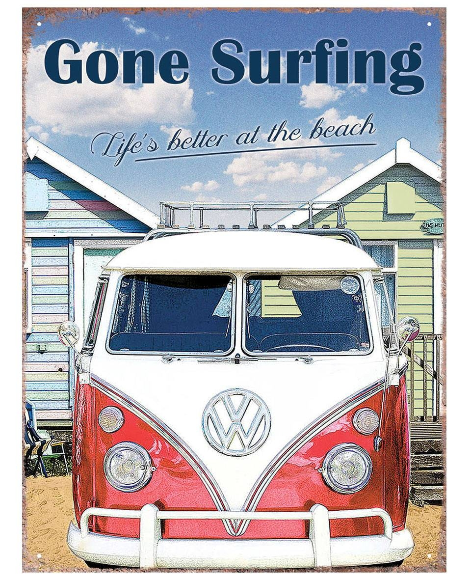 Vw Camper Gone Surfing Tinplate Metal Plaque Wall Art Sign New | Ebay Pertaining To Most Current Campervan Metal Wall Art (View 14 of 20)