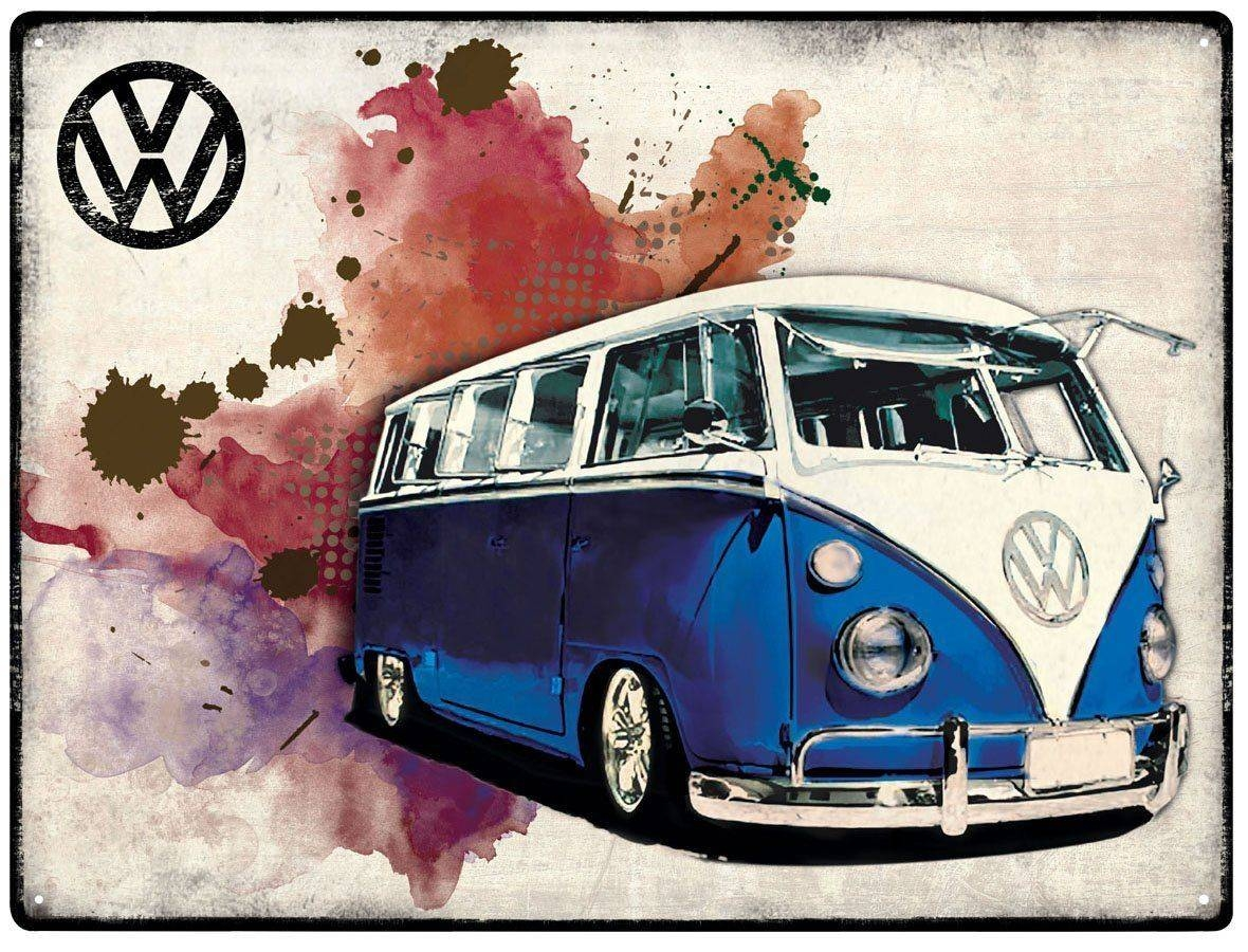 Vw Campervan Wall Art – Metal – Grunge Dark Blue Throughout Most Recently Released Campervan Metal Wall Art (View 6 of 20)