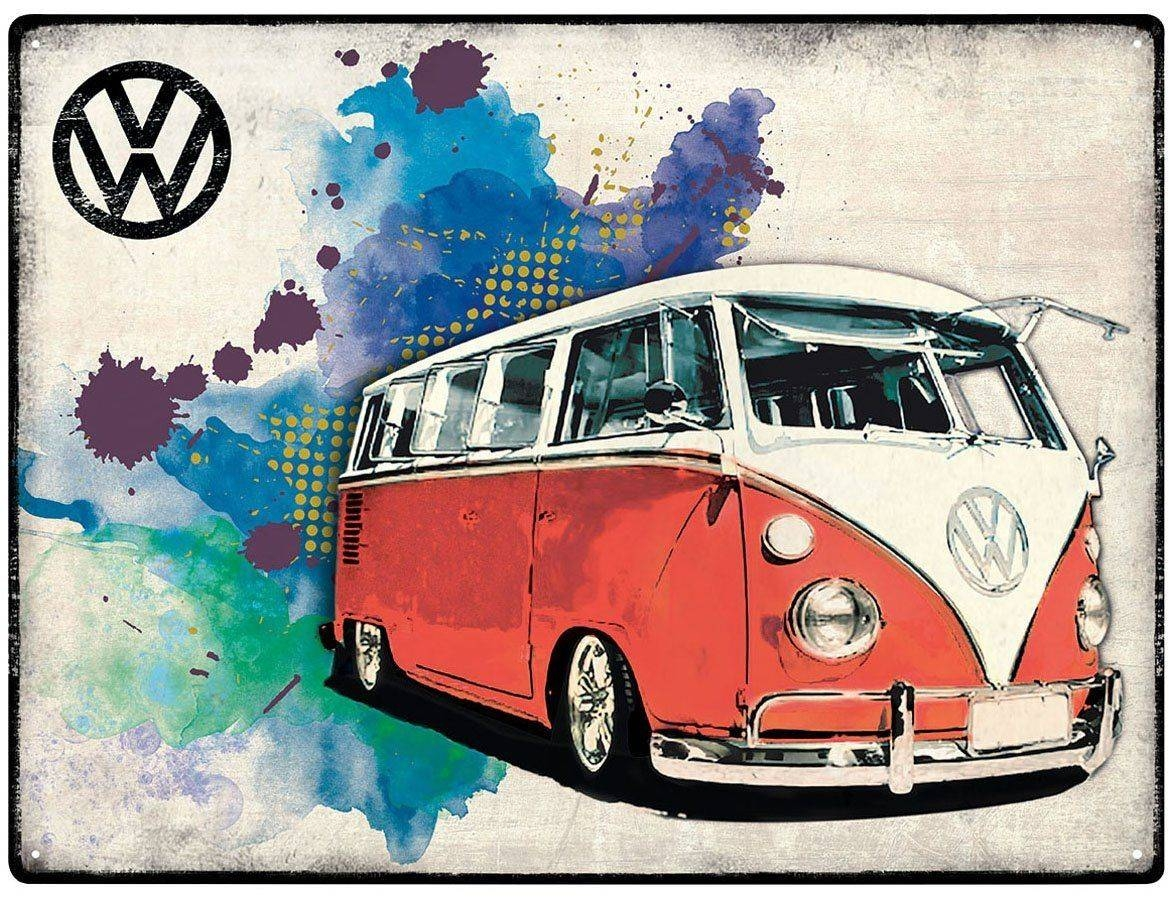 Vw Campervan Wall Art – Metal – Grunge Red In 2018 Campervan Metal Wall Art (View 4 of 20)