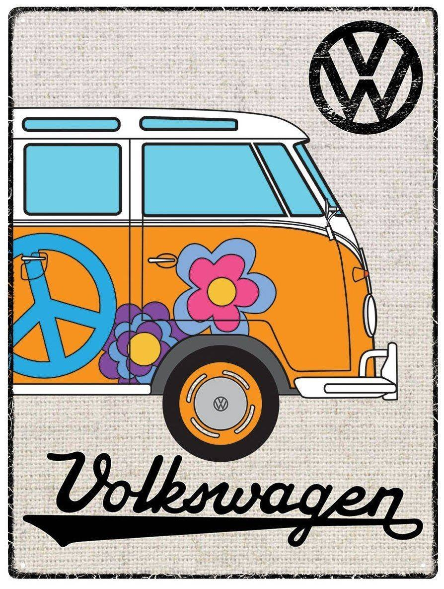 Vw Campervan Wall Art – Metal – Hessian Orange For 2018 Campervan Metal Wall Art (Gallery 7 of 20)