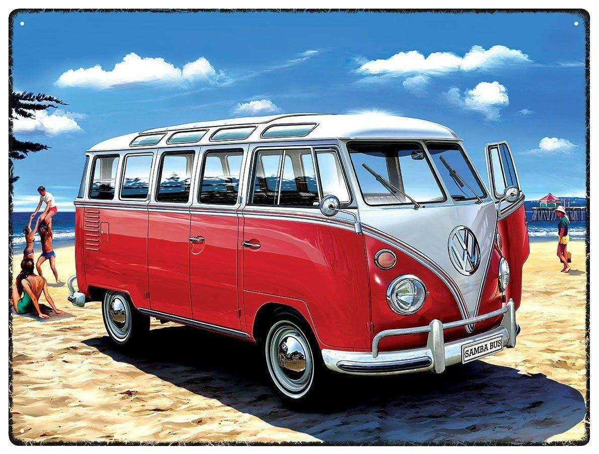 Vw Campervan Wall Art – Metal – Samba Beach Bus Throughout 2018 Campervan Metal Wall Art (View 20 of 20)
