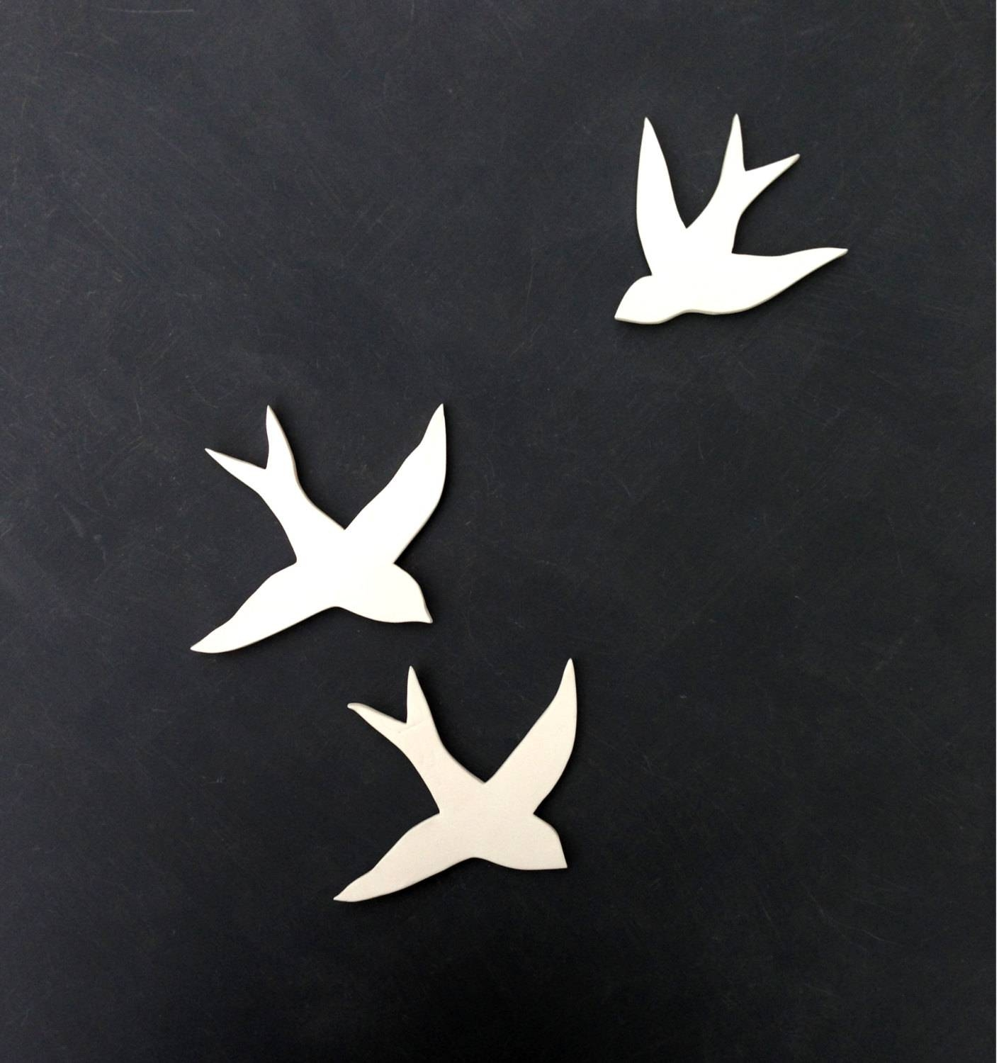 Wall Art Birds Set Of Three Handmade Porcelain Swallows With Regard To Most Current Ceramic Bird Wall Art (View 7 of 30)