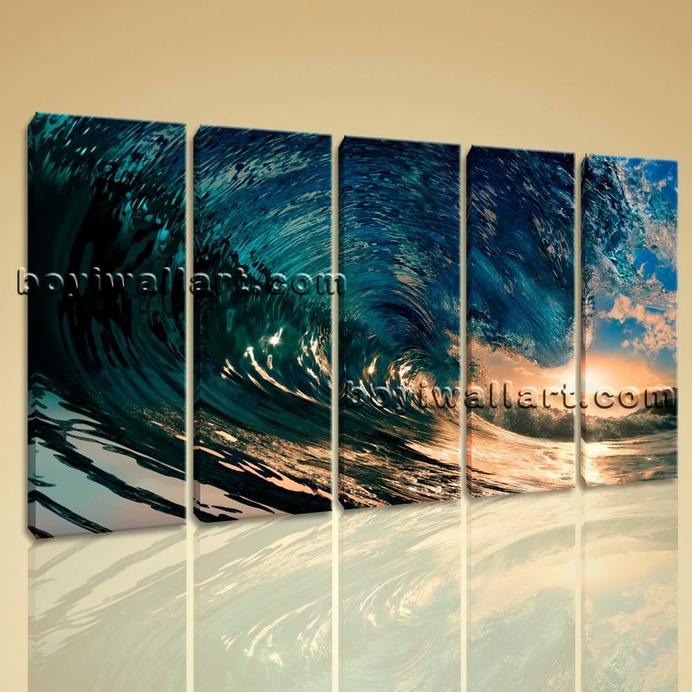 Wall Art Canvas Print Hd Ocean Wave Surf Sunset Contemporary Home Inside Newest Big Wall Art (Gallery 18 of 20)