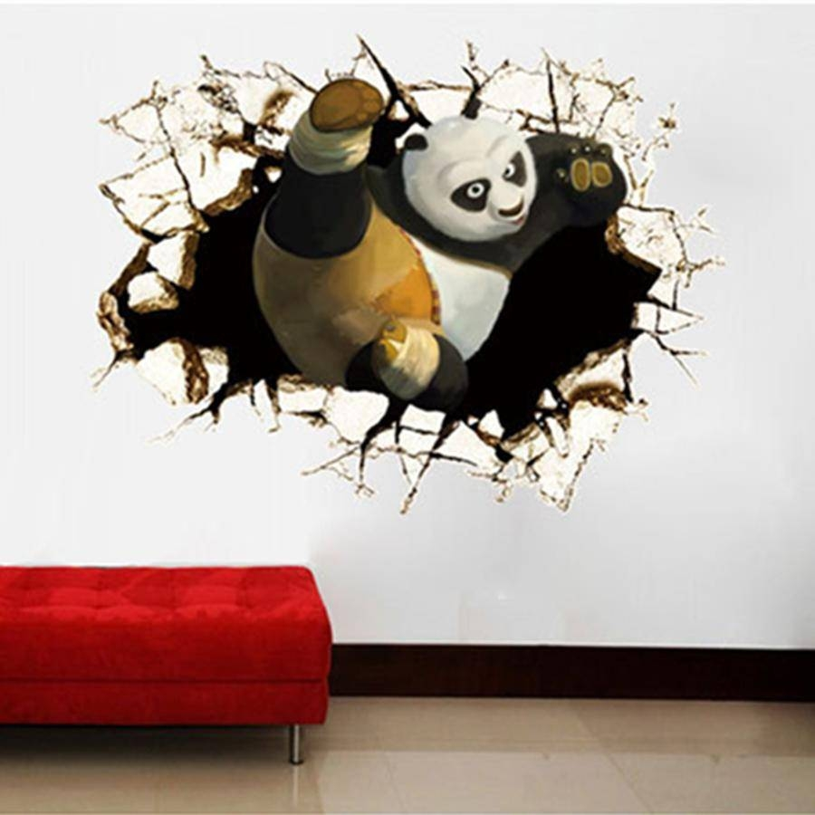 Wall Art Decor Ideas: Big 3D Wall Art Decals Hole Sample Themes Inside 2017  Decorative
