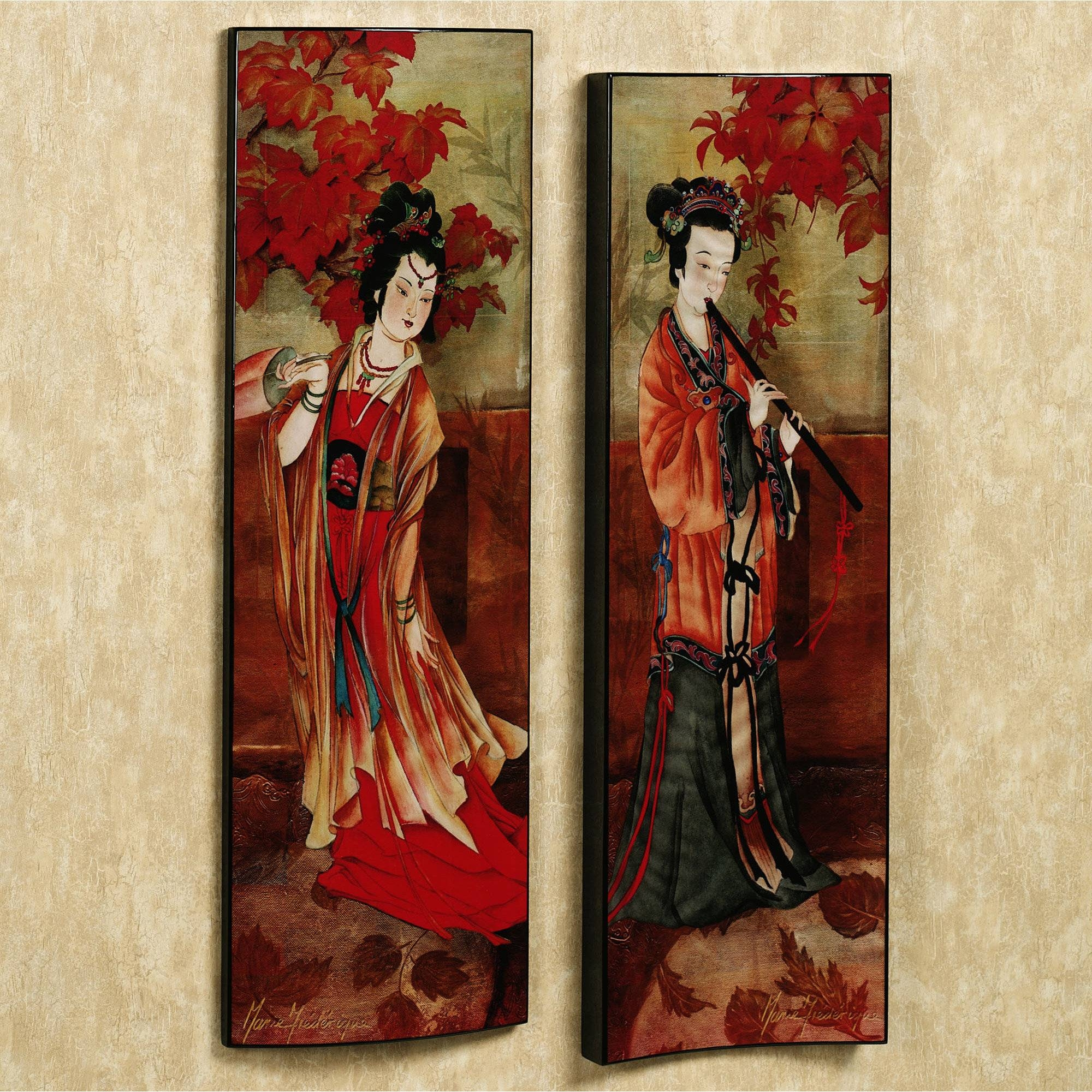 Wall Art Decor: Orange Portrait Geisha Wall Art Position Wooden Throughout Newest Japanese Wall Art Panels (View 22 of 25)