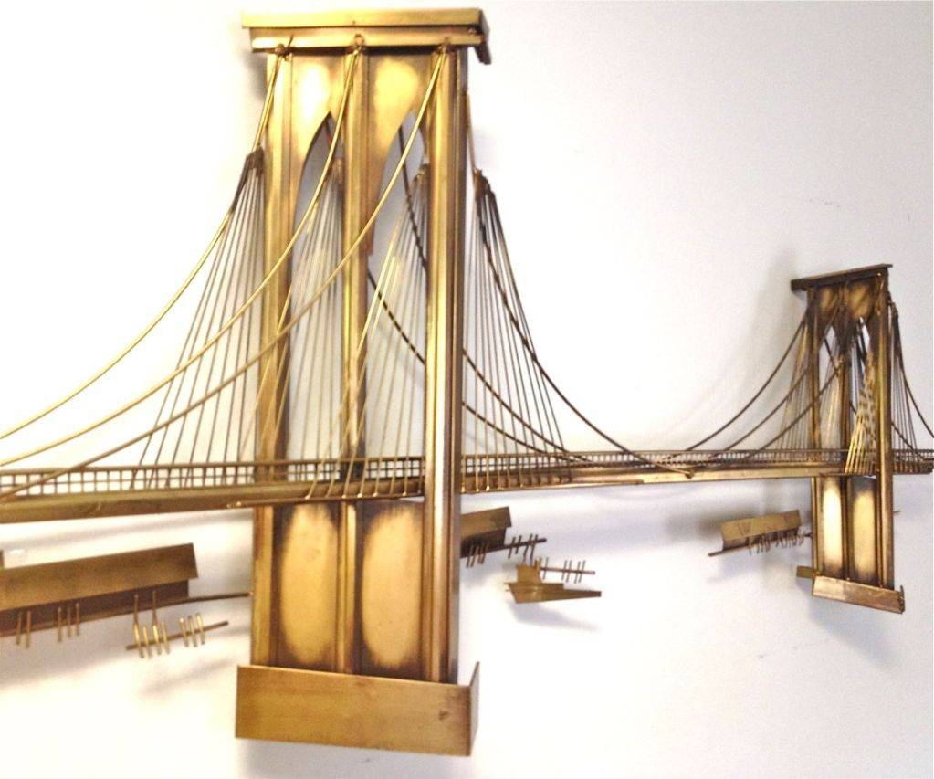 Wall Art Design Brooklyn Bridge Curtis Jere Metal In Most Por