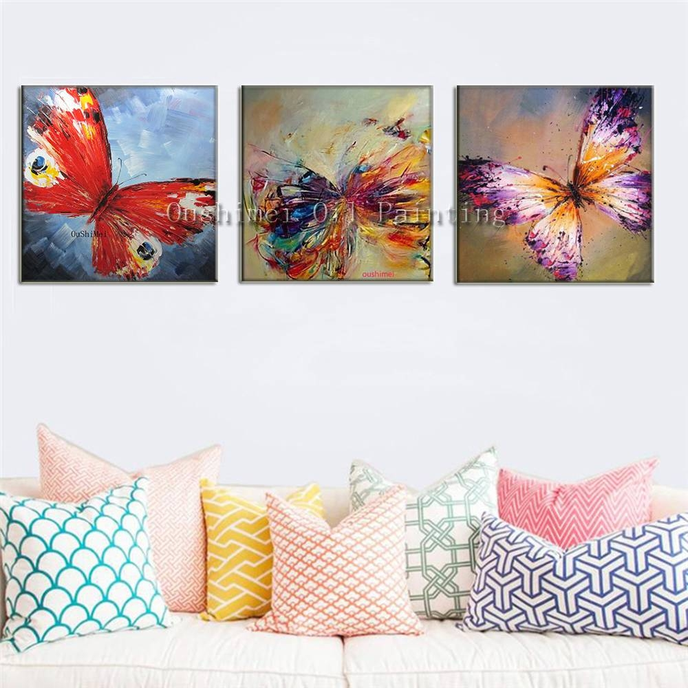 Wall Art Design: Butterfly Canvas Wall Art Sweet Design Collection With Regard To Recent Butterfly Canvas Wall Art (View 9 of 20)