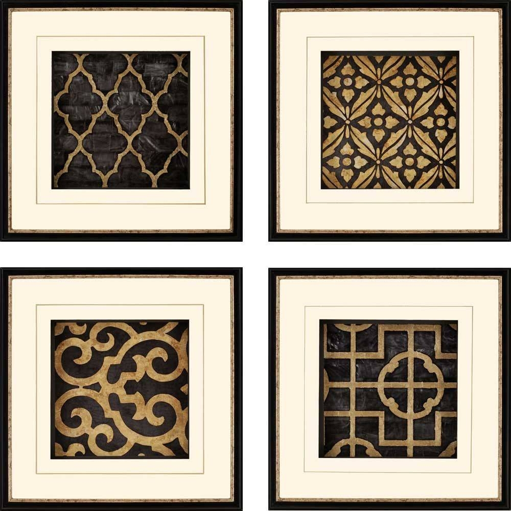 Wall Art Design: Framed Metal Wall Art Square Cream Black White For Most Up To Date Metal Framed Wall Art (View 4 of 20)