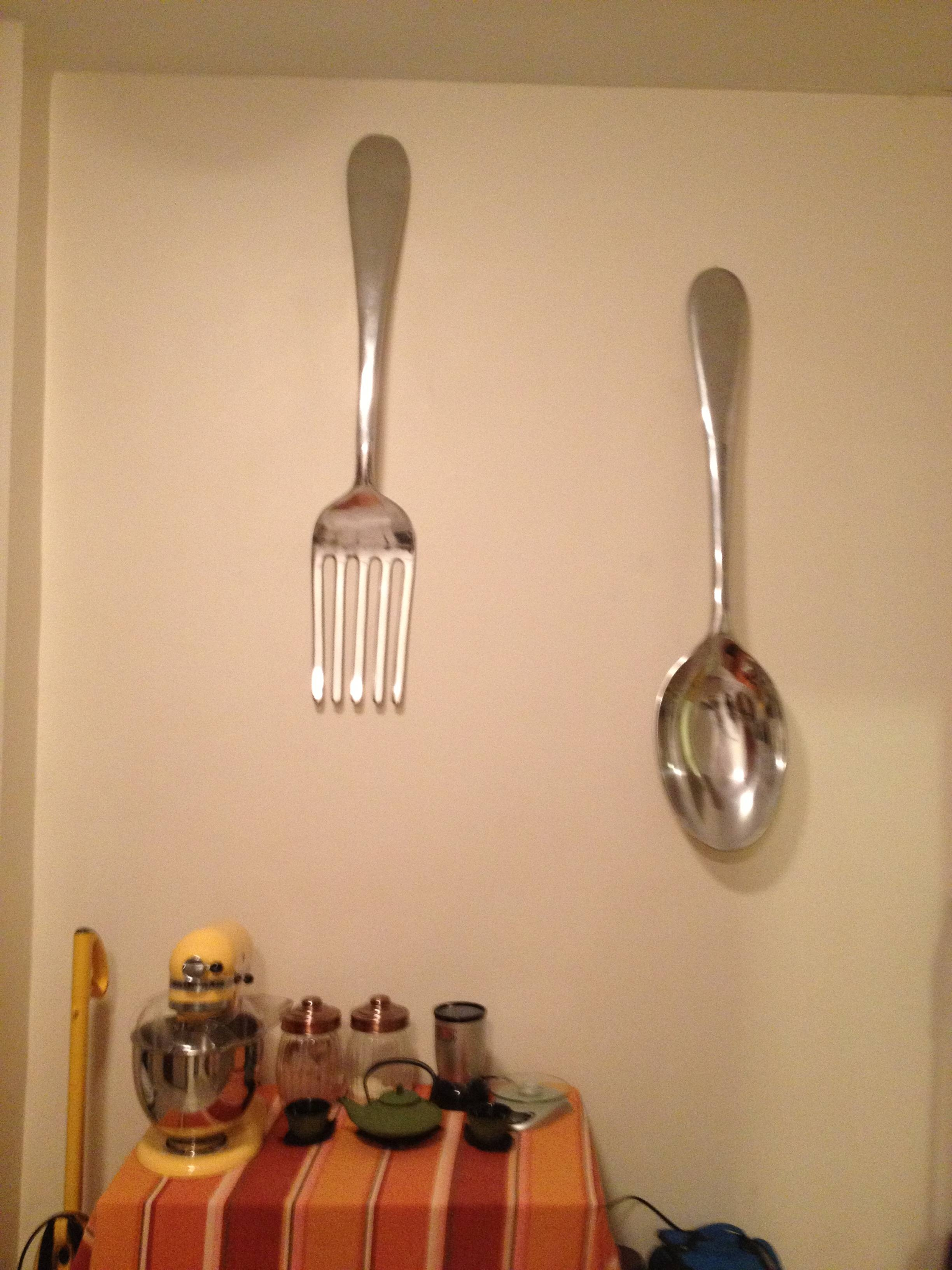 Wall Art Design Ideas: 3D Metals Industrial Giant Fork And Spoon For Most Popular Big Spoon And Fork Wall Decor (View 9 of 30)