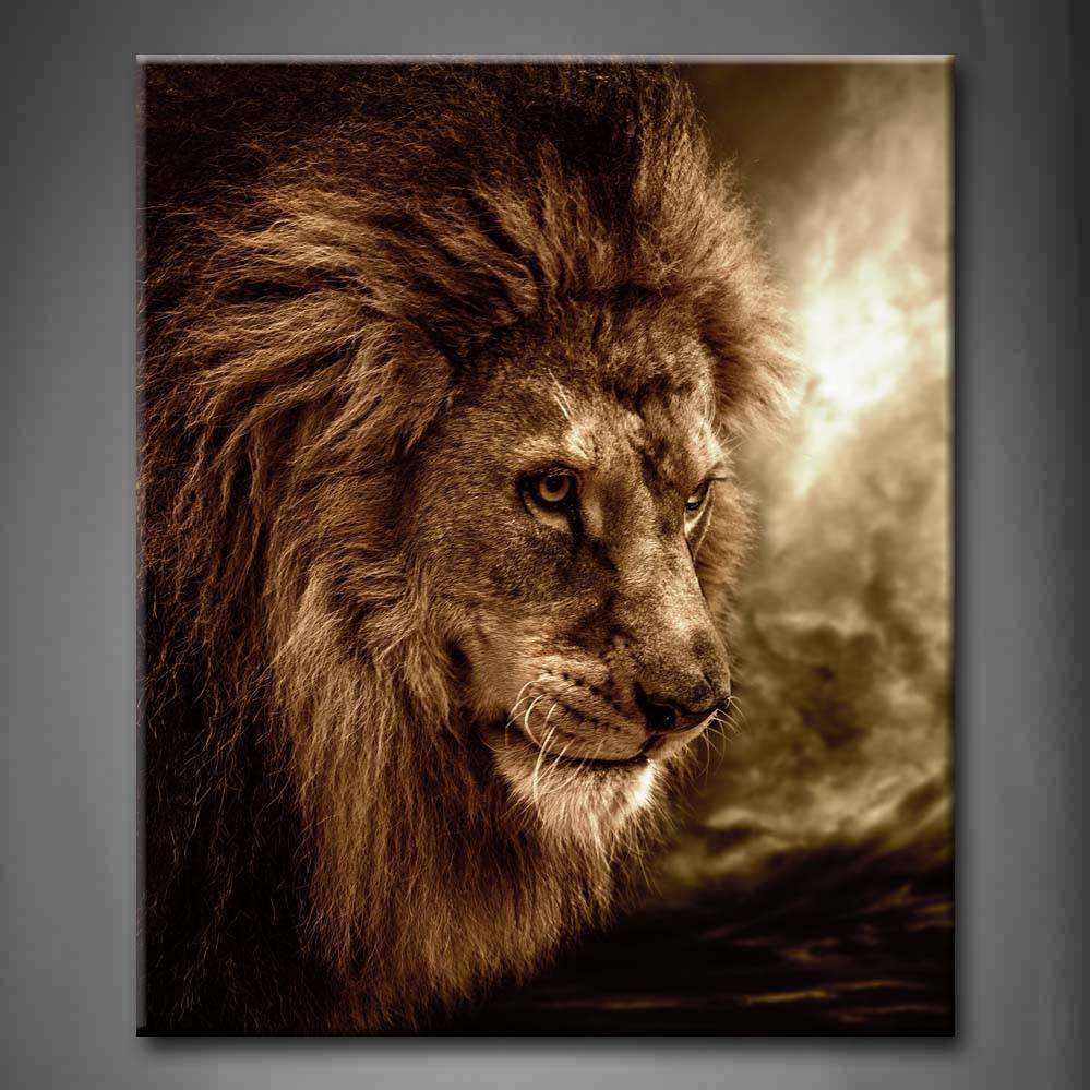 Wall Art Design Ideas: Brown Lion Wall Art Fierce Against First For Latest Lion Wall Art (View 5 of 20)