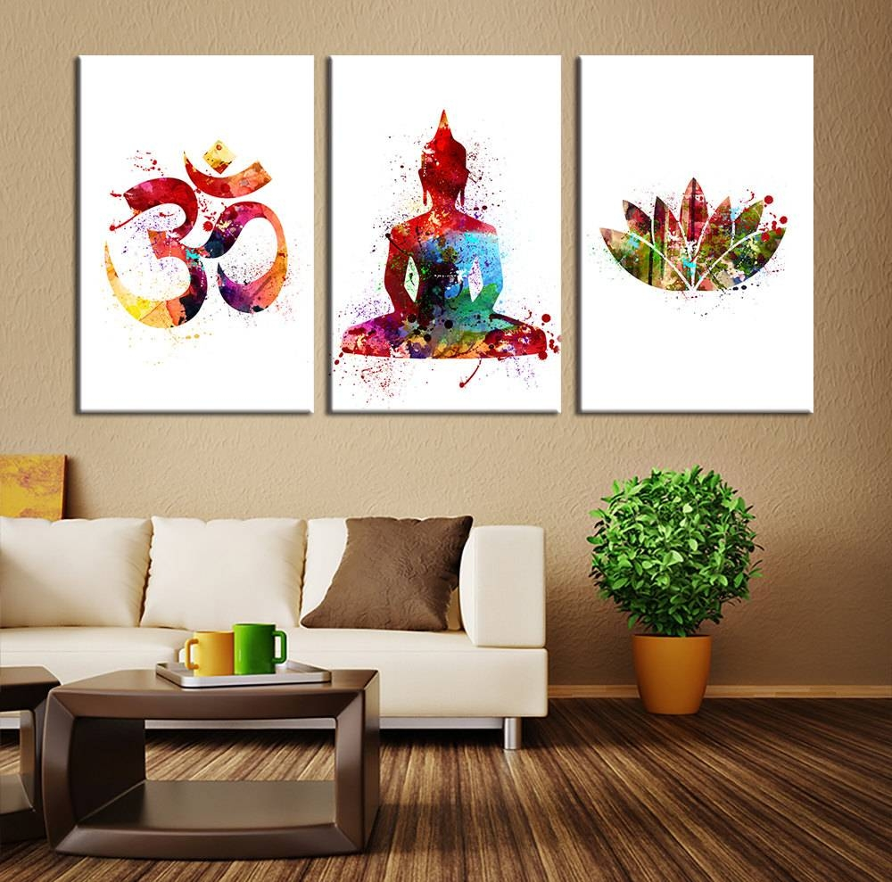 Wall Art Design Ideas: Colorful Modern Buddhist Wall Art White Within Most Popular Buddha Wooden Wall Art (View 19 of 20)