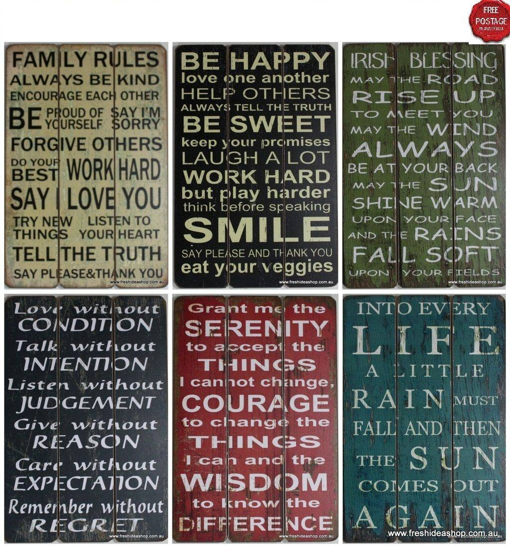 Wall Art Design Ideas: Combination Word Plaques Wall Art Multi Throughout Most Up To Date Inspirational Wall Plaques (View 18 of 20)