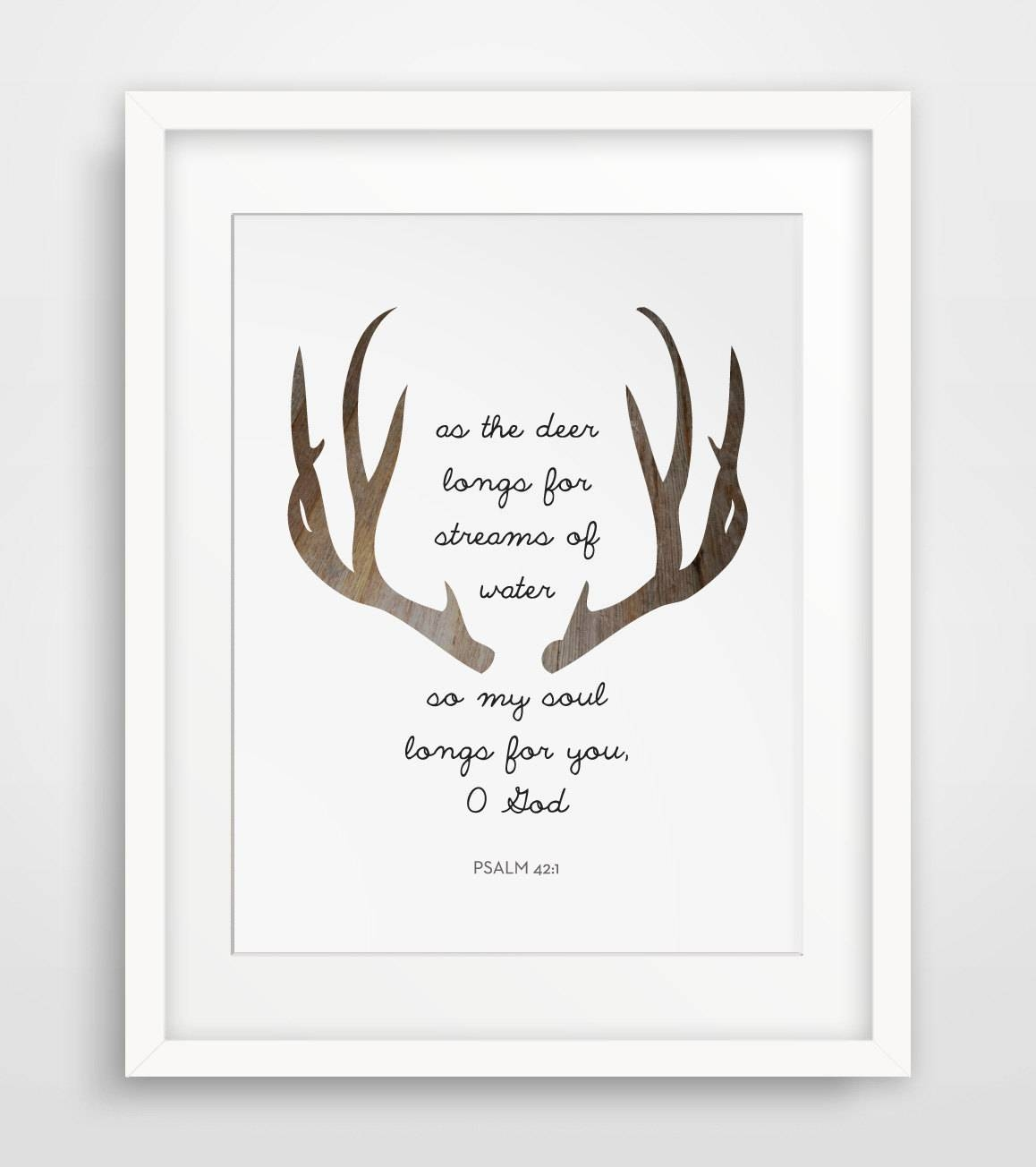 Wall Art Design Ideas: Deer Horn Christian Wall Art Canvas For Most Up To Date Bible Verses Framed Art (View 5 of 25)