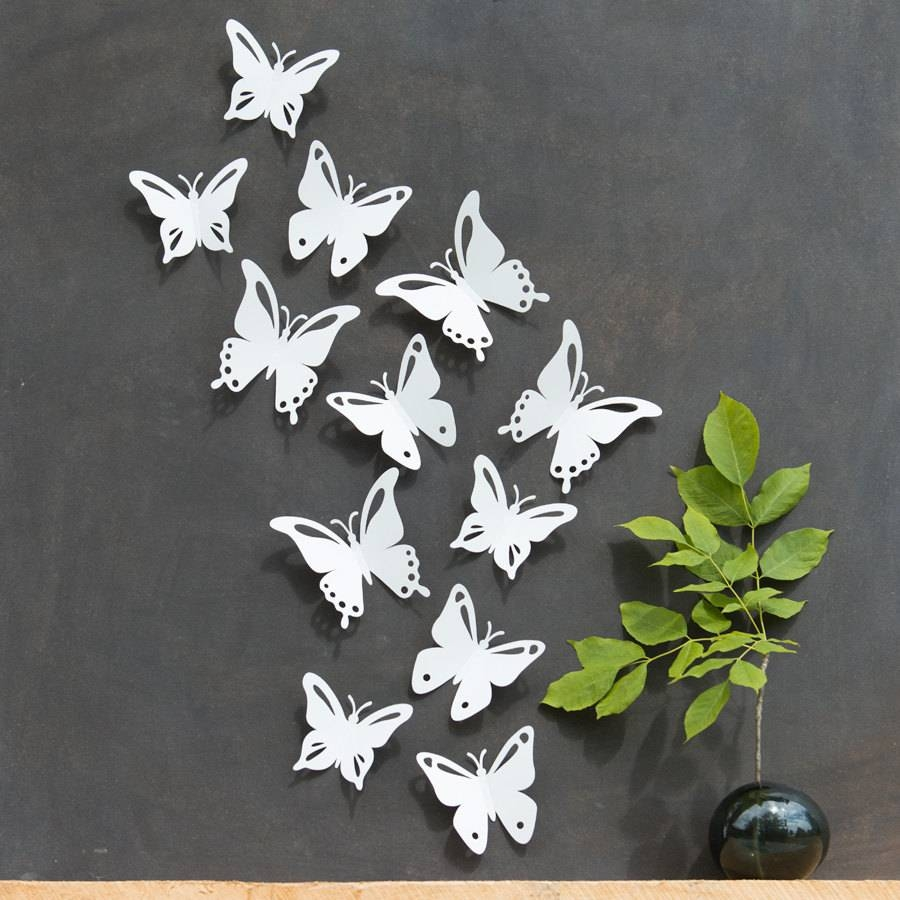 Wall Art Design Ideas: Green Leaves White Butterfly Wall Art With Regard To 2018 Butterflies 3D Wall Art (View 18 of 20)
