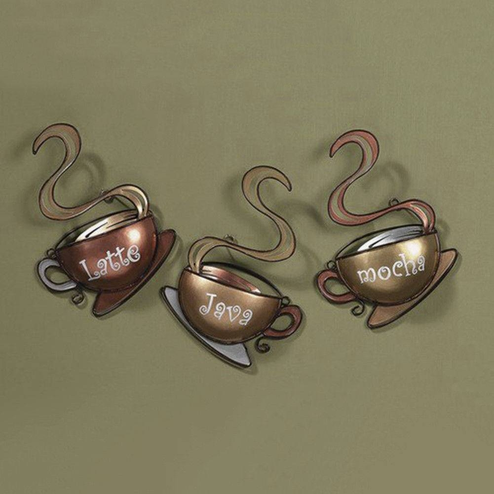Wall Art Design Ideas: Latte Java Kitchen Metal Wall Art Decor Intended For Best And Newest Cream Metal Wall Art (View 12 of 20)