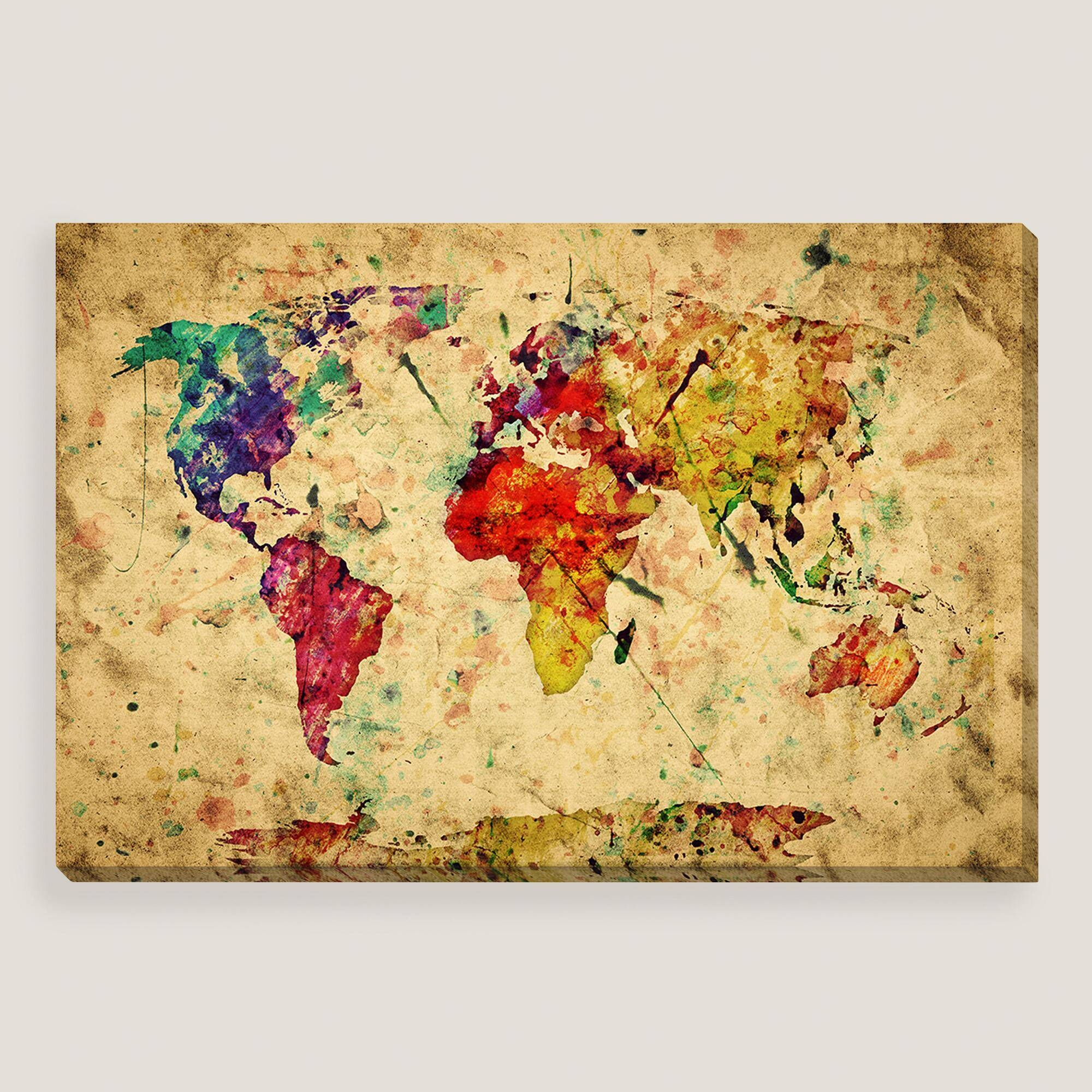 Wall Art Design Ideas: Modern Painting Vintage World Map Wall Art In Most Popular Maps For Wall Art (View 15 of 20)