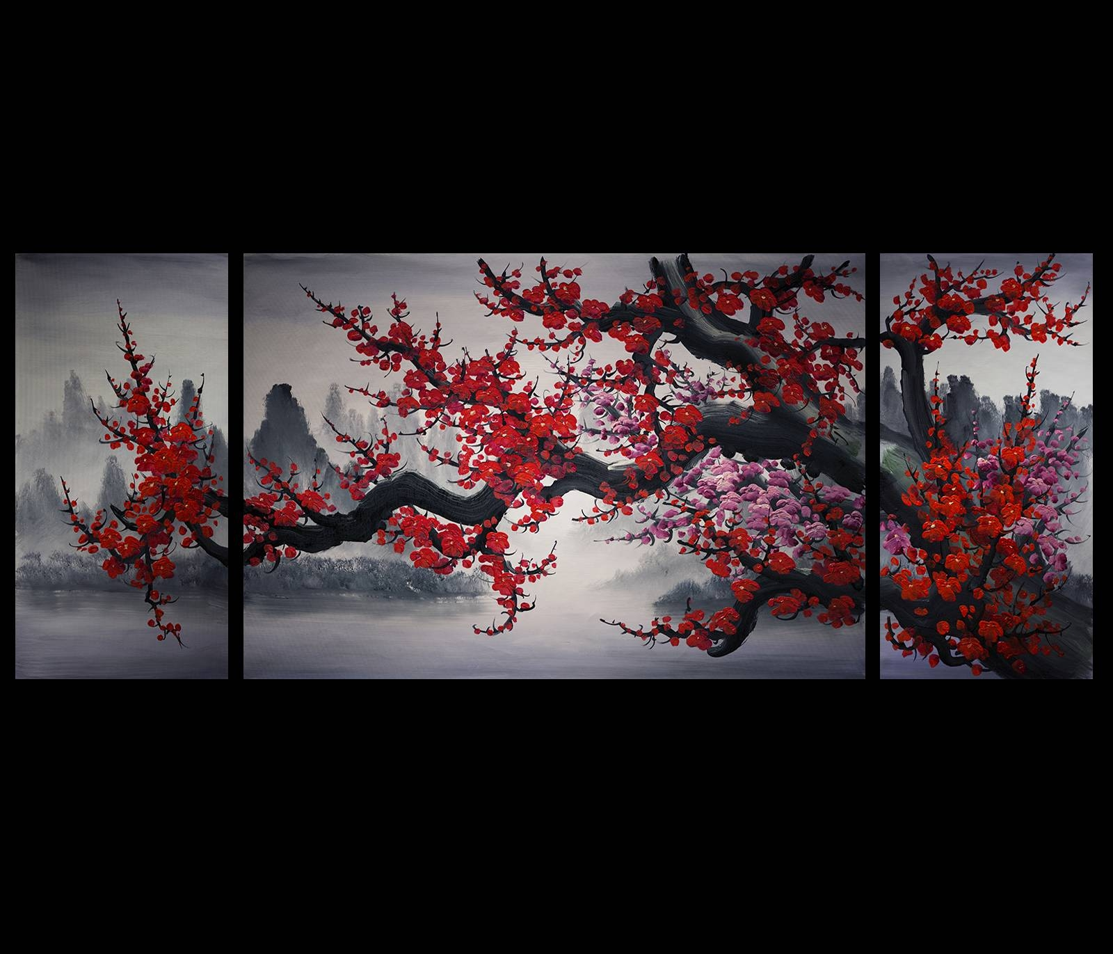 Wall Art Design Ideas: Mountain Red Colors Chinese Wall Art Pertaining To Most Recently Released Chinese Symbol Wall Art (View 11 of 30)