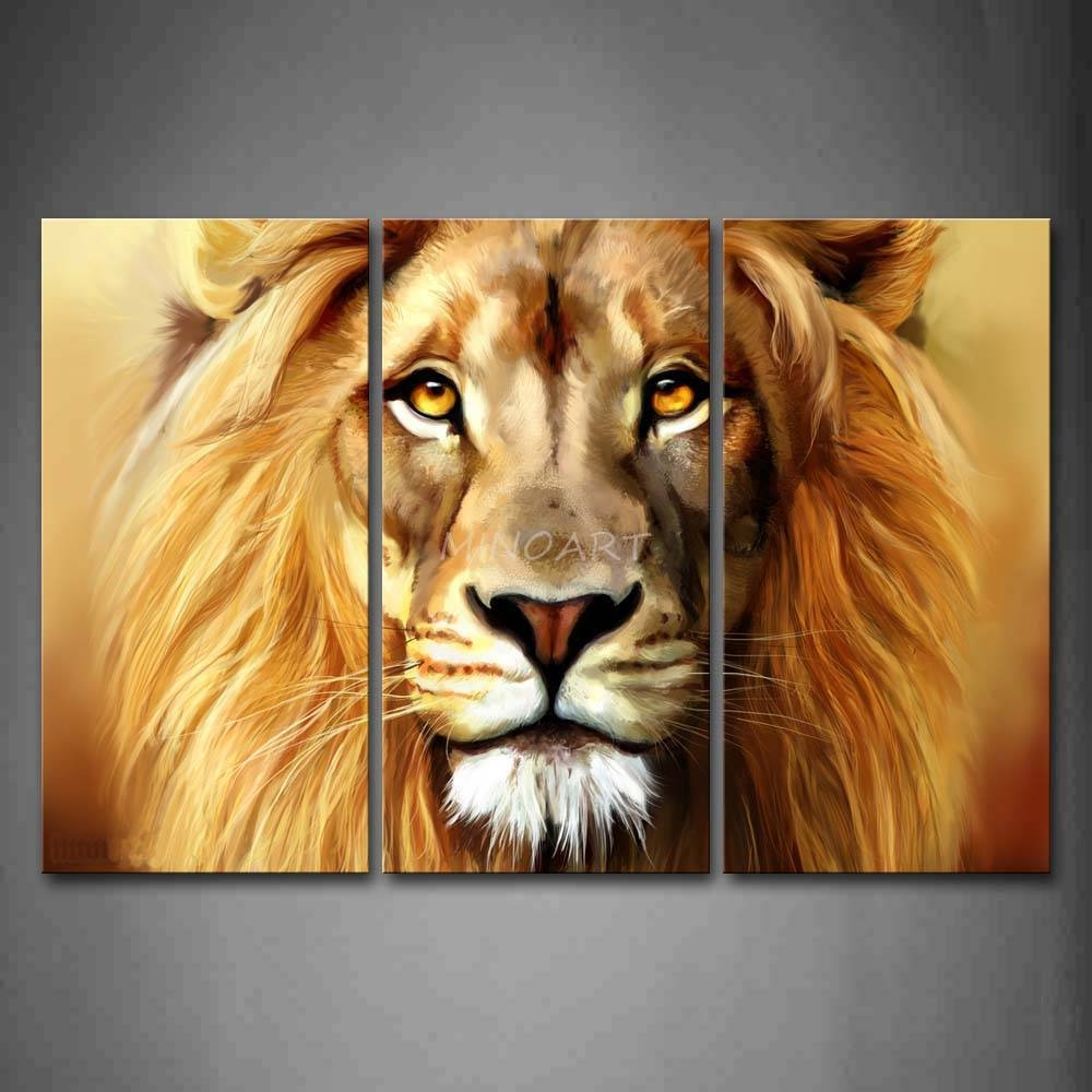 Wall Art Design Ideas: Multi Panel Lion Wall Art Combination Inside Newest Lion  Wall Art