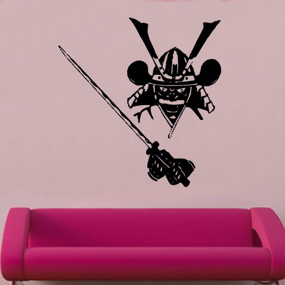 Wall Art Design Ideas: Pink Wallpaper Samurai Wall Art Stickers With Best And Newest Samurai Wall Art (View 6 of 20)