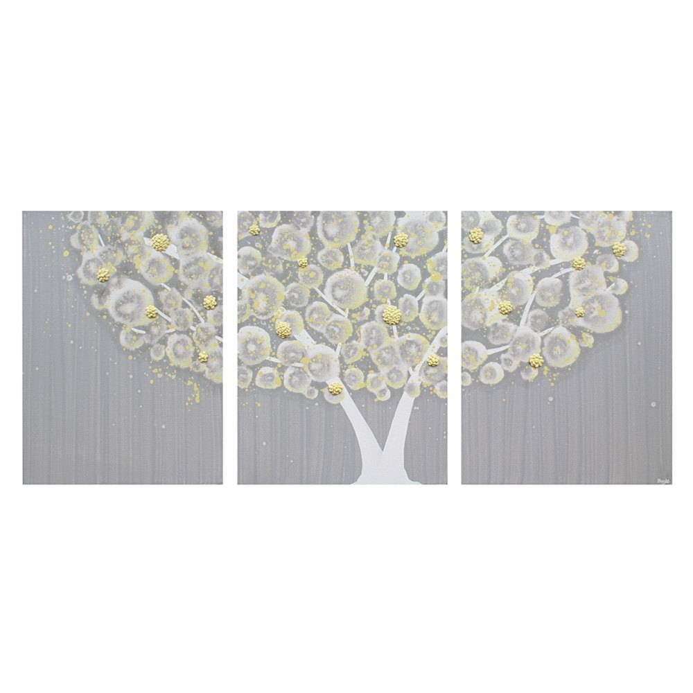 Wall Art Design Ideas: Three Separated Canvas Yellow And Grey Wall Pertaining To Recent Large Horizontal Wall Art (View 15 of 20)